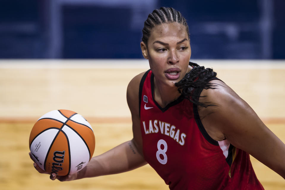WASHINGTON, DC - JUNE 05: Liz Cambage #8 of the Las Vegas Aces in action against the Washington Mystics during the second half of the game at Entertainment & Sports Arena on June 5, 2021 in Washington, DC. NOTE TO USER: User expressly acknowledges and agrees that, by downloading and or using this photograph, User is consenting to the terms and conditions of the Getty Images License Agreement. (Photo by Scott Taetsch/Getty Images)