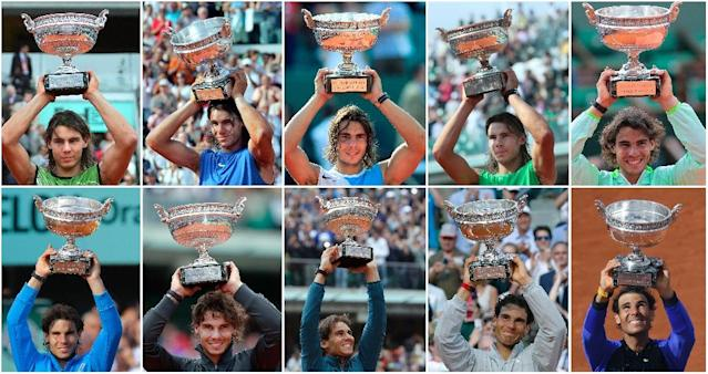 Ten of the best: Rafael Nadal with the Coupe des Mousquetaires he won in 2005, 2006, 2007, 2008, 2010, 2011, 2012, 2013, 2014 and 2017 (AFP Photo/-)