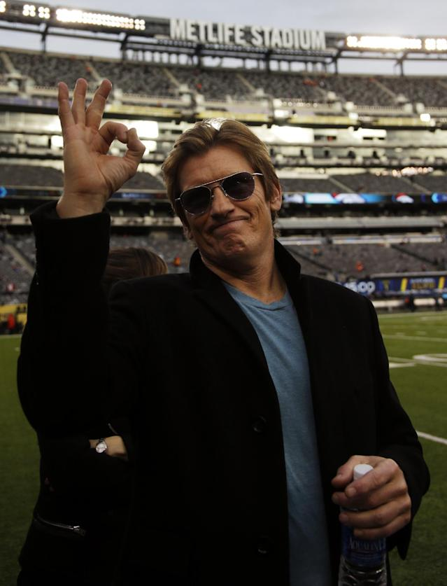 Actor Denis Leary poses on the field before the NFL Super Bowl XLVIII football game between the Seattle Seahawks and the Denver Broncos, Sunday, Feb. 2, 2014, in East Rutherford, N.J. (AP Photo/Matt Slocum)
