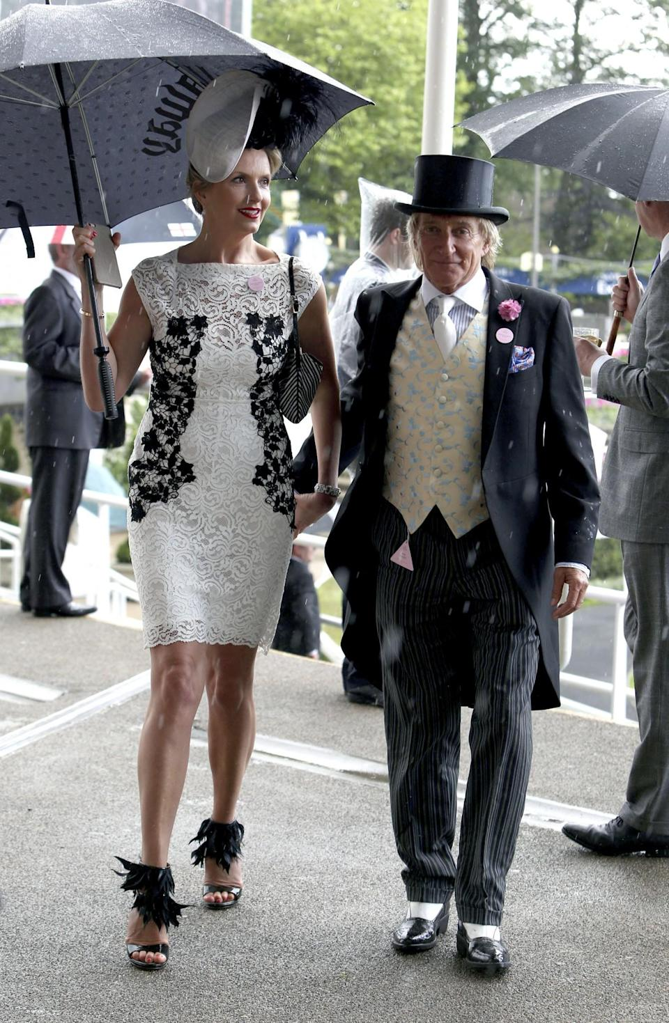<p>Rod and Penny coordinated their monochrome outfits in 2016.<br><i>[Photo: PA]</i> </p>