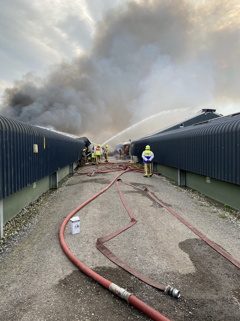 Dozens of firefighters attended to the incident, with as many as 45 at one point (Humberside Fire and Rescue Service/Twitter)