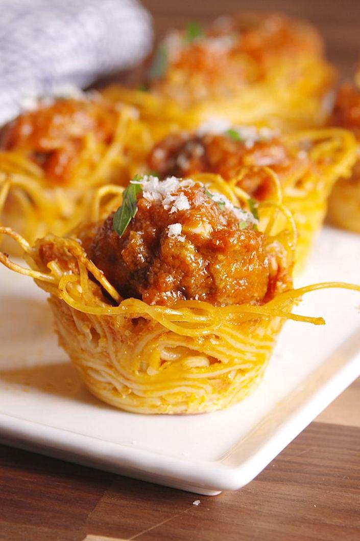 "<p>No fork twirling required.</p><p>Get the recipe from <a href=""https://www.delish.com/cooking/recipes/a49809/spaghetti-meatball-bites-recipe/"" rel=""nofollow noopener"" target=""_blank"" data-ylk=""slk:Delish"" class=""link rapid-noclick-resp"">Delish</a>.</p>"