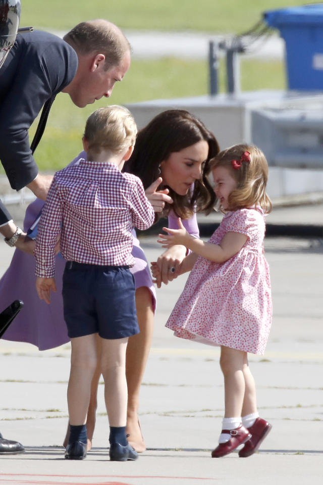 Prince William, Duke of Cambridge, Prince George of Cambridge, Princess Charlotte of Cambridge and Catherine, Duchess of Cambridge view helicopter models H145 and H135 before departing from Hamburg airport on the last day of their official visit to Poland and Germany on July 21, 2017 in Hamburg, Germany. (Photo by Franziska Krug/Getty Images)