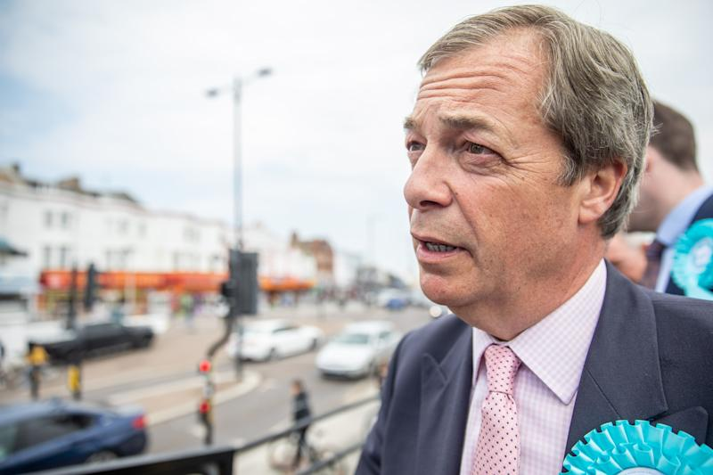 SOUTHEND-ON-SEA, ENGLAND - MAY 18: Nigel Farage addresses a crowd of supporters outside Southend Pier as he tours Essex with The Brexit Party on May 18, 2019 in Southend-on-Sea, United Kingdom. The Brexit Party are fielding candidates across the country for the European Parliament Election on Thursday 23rd May 2019. (Photo by Luke Dray/Getty Images)