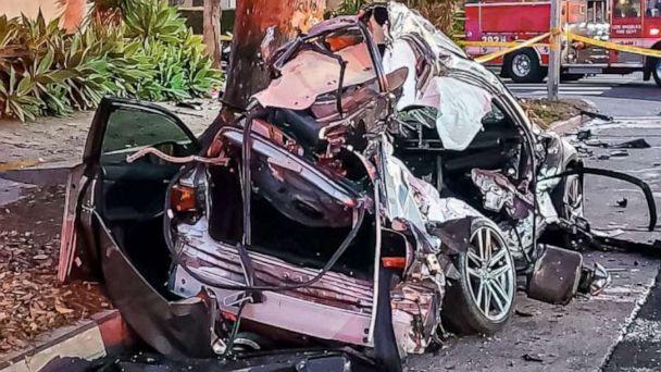 PHOTO: Monique Munoz, 32, of Hawthorne, California, was driving home from work shortly after 5 p.m. on Feb. 17 in West Los Angeles when a black Lamborghini SUV collided with her Lexus sedan, police said. (@LAPDWestTraffic/Twitter)