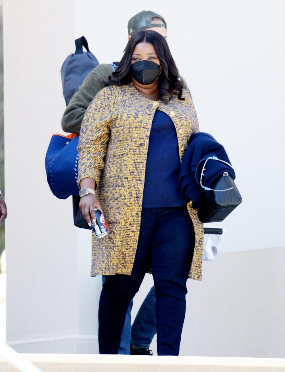 <p>Octavia Spencer arrives on the set of <i>Truth Be Told</i> in L.A. on Thursday. </p>