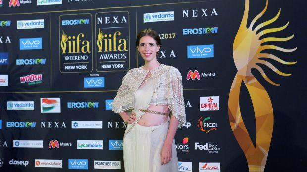 Actress Kalki Koechlin poses for a picture on the Green Carpet at the International Indian Film Academy Rocks show at MetLife Stadium in East Rutherford