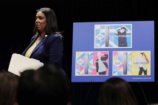 PHOTO: New York State Attorney General, Letitia James, arrives to announce a lawsuit by the state of New York against e-cigarette maker Juul Labs Inc in New York, Nov. 19, 2019. (Lucas Jackson/Reuters)