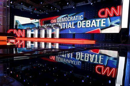 The stage is seen before the first official Democratic candidates debate of the 2016 presidential campaign in Las Vegas, Nevada October 13, 2015. REUTERS/Lucy Nicholson