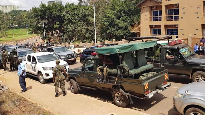 Soldiers outside the hospital in Kampala