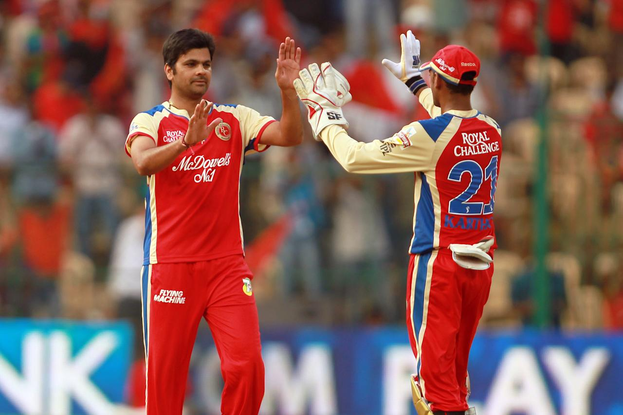 RP Singh celebrates the wicket of Cameron White during match 9 of the Pepsi Indian Premier League between The Royal Challengers Bangalore and The Sunrisers Hyderabad held at the M. Chinnaswamy Stadium, Bengaluru on the 9th April 2013. (BCCI)