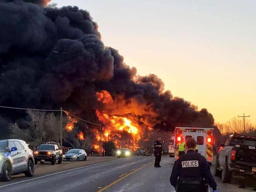 Train crashes with 18-wheeler in Texas, causing huge explosion.  (Cameron Police Chief Lonnie Gosch)