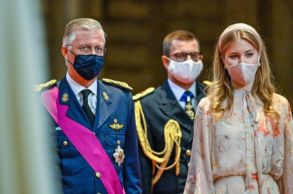 <p>The royals took care to match their face masks to their outfits. </p>