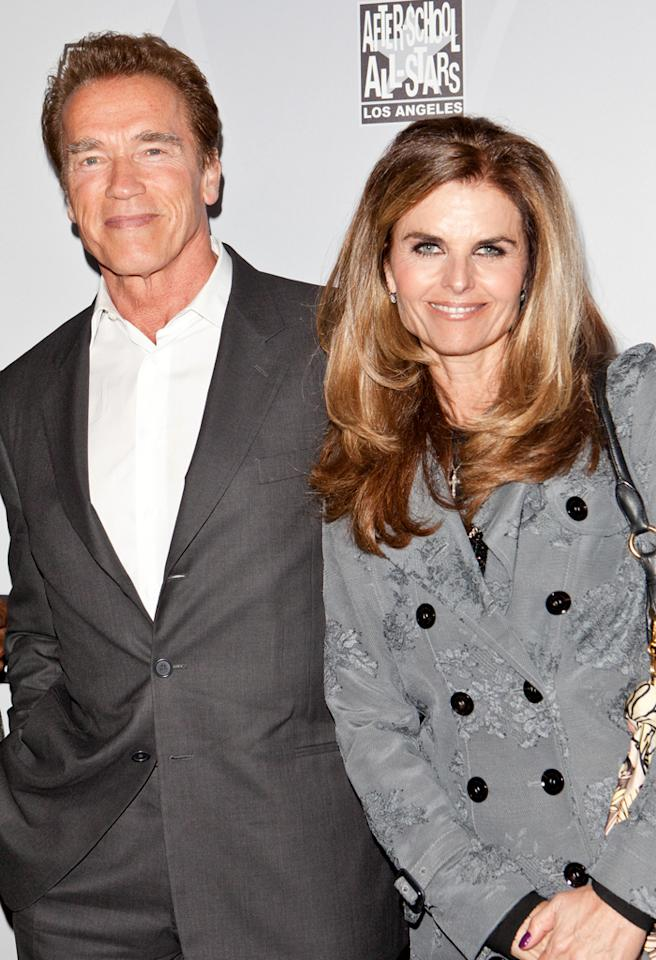 LOS ANGELES, CA - FEBRUARY 18:  Former California Goveror Arnold Schwarzenegger (L) and Maria Shriver (R) arrive at After-School All-Stars Hoop Heroes Salute launch party at Katsuya on February 18, 2011 in Los Angeles, California.  (Photo by Chelsea Lauren/FilmMagic) *** Local Caption *** Arnold Schwarzenegger;Maria Shriver
