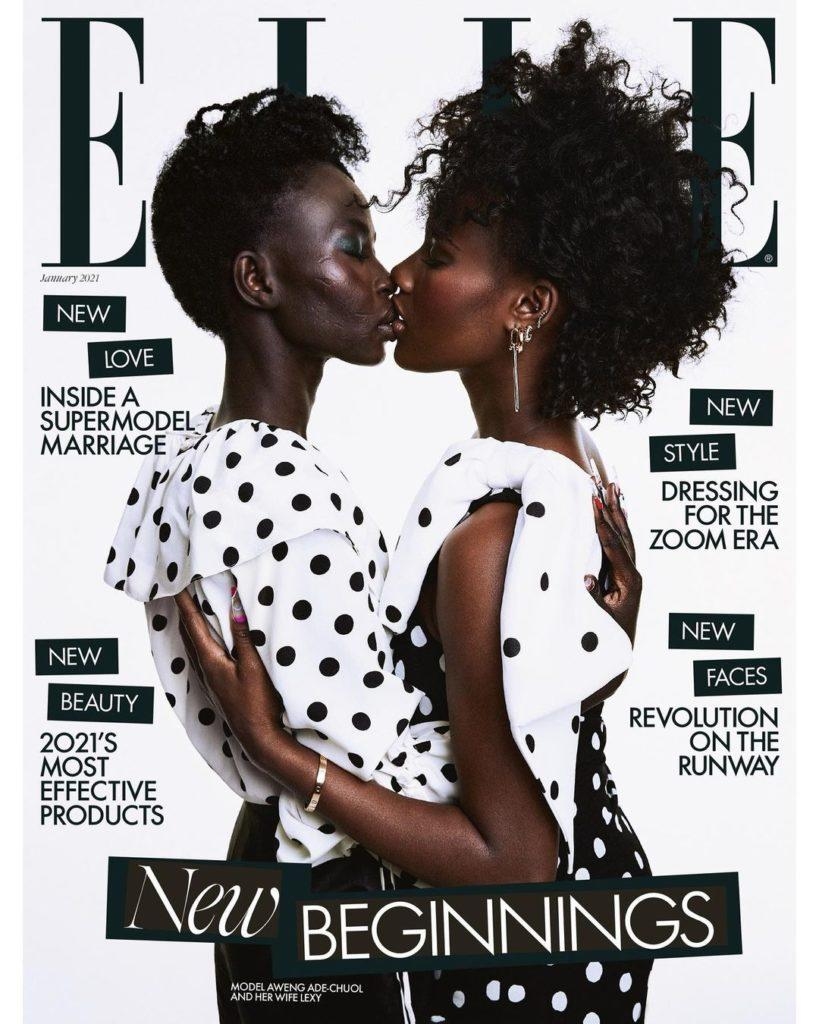 Aweng Ade-Chuol and her wife Alexus kissing on the cover of Elle UK