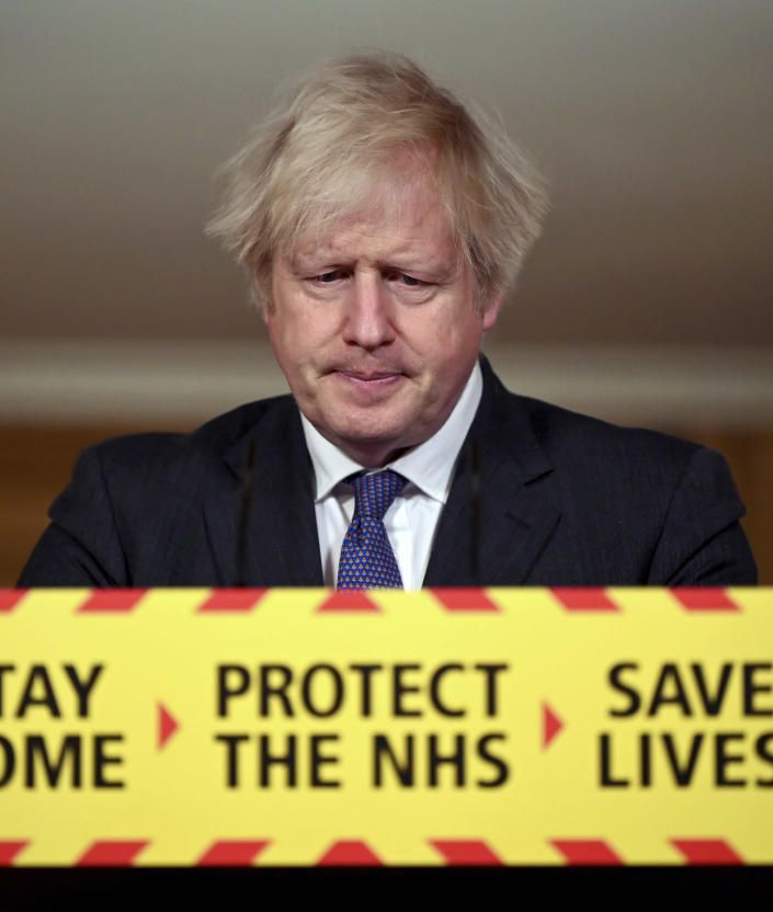 Britain's Prime Minister Boris Johnson speaks during a coronavirus press conference at 10 Downing Street in London, Friday Jan. 22, 2021. Johnson announced that the new variant of COVID-19, which was first discovered in the south of England, may be linked with an increase in the mortality rate. (Leon Neal/Pool via AP)
