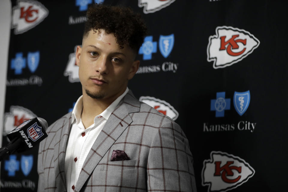 FILE - In this Monday, Nov. 19, 2018, file photo, Kansas City Chiefs quarterback Patrick Mahomes talks to reporters following an NFL football game against the Los Angeles Rams, in Los Angeles. Mahomes threw for the most yards in the NFL this season and had his second six-touchdown game. But it is the five turnovers the Kansas City quarterback committed that led to the Chiefs dropping their second game this season. Mahomes threw three interceptions and had two fumbles in Monday night's 54-51 loss to the Los Angeles Rams at the LA Memorial Coliseum. (AP Photo/Marcio Jose Sanchez, File)
