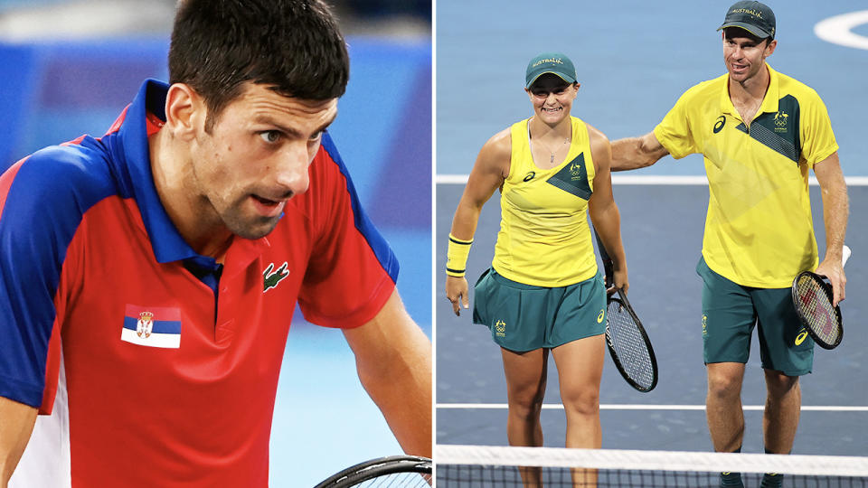 Novak Djokovic, Ash Barty and John Peers, pictured here at the Tokyo Olympics.