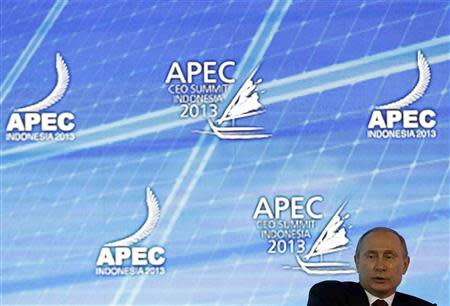 Russia's President Putin speaks at the APEC CEO Summit in Nusa Dua