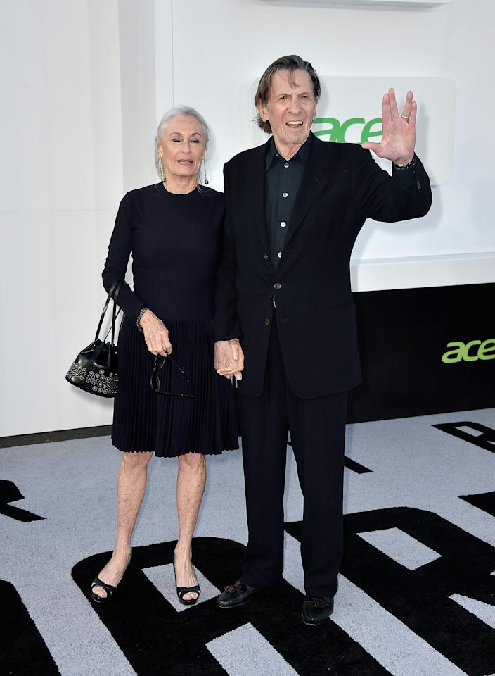 "HOLLYWOOD, CA - MAY 14:  Actors Susan Bay (L) and Leonard Nimoy arrives at the premiere of Paramount Pictures' ""Star Trek Into Darkness"" at Dolby Theatre on May 14, 2013 in Hollywood, California.  (Photo by Frazer Harrison/Getty Images)"