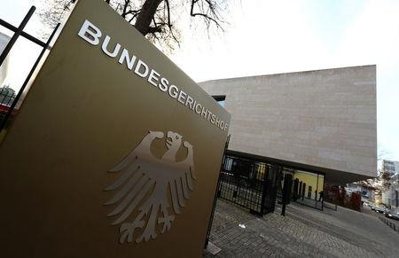 FILE PHOTO: The sign of the German Federal Supreme Court Bundesgerichtshof is pictured in Karlsruhe, Germany, December 20, 2016.  REUTERS/Kai Pfaffenbach/File Photo