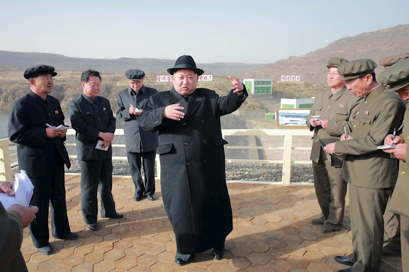 "North Korean leader Kim Jong Un was <a href=""http://www.telegraph.co.uk/news/2016/04/23/north-korea-tests-submarine-launched-ballistic-missile/"" target=""_blank"">actually inspecting a power station</a> when a photographer snapped this image in April 2016. (KCNA KCNA / Reuters)"