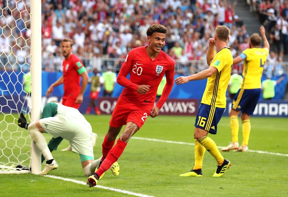Dele Alli and England are through to the World Cup semifinals. (Getty)