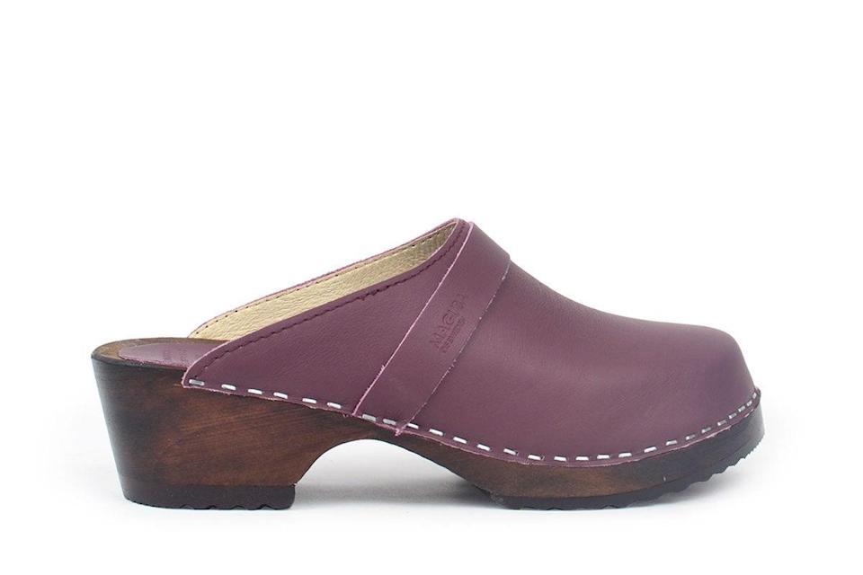 "<h2>Maguba Berkeley Clog</h2><br>This new-ish Swedish brand has an eco-conscious offering (in addition to colorful and well-priced footwear): for every pair of wooden shoes purchased, the company plants a tree in partnership with the non-profit <a href=""https://www.weforest.org/"" rel=""nofollow noopener"" target=""_blank"" data-ylk=""slk:WeForest"" class=""link rapid-noclick-resp"">WeForest</a>.<br><br><strong>Maguba</strong> Berkeley Clog, $, available at <a href=""https://go.skimresources.com/?id=30283X879131&url=https%3A%2F%2Fwww.maguba.com%2Fclogs%2Fberkeley-purple"" rel=""nofollow noopener"" target=""_blank"" data-ylk=""slk:Maguba"" class=""link rapid-noclick-resp"">Maguba</a>"