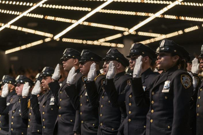 "<span class=""caption"">Does college hold the answer to police violence?</span> <span class=""attribution""><a class=""link rapid-noclick-resp"" href=""https://www.gettyimages.com/detail/news-photo/new-police-officers-take-oath-during-new-york-police-news-photo/1175954210?adppopup=true"" rel=""nofollow noopener"" target=""_blank"" data-ylk=""slk:Pacific Press/Getty Images"">Pacific Press/Getty Images</a></span>"