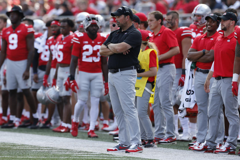 Ohio State head coach Ryan Day instructs his team against Tulsa during an NCAA college football game Saturday, Sept. 18, 2021, in Columbus, Ohio. (AP Photo/Jay LaPrete)