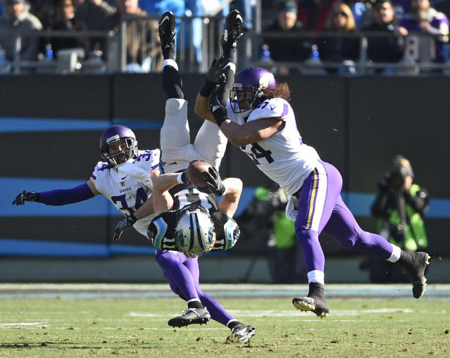 "The Panthers' Brenton Bersin (11) is upended by the Vikings' <a class=""link rapid-noclick-resp"" href=""/nfl/players/24759/"" data-ylk=""slk:Andrew Sendejo"">Andrew Sendejo</a> (34) and <a class=""link rapid-noclick-resp"" href=""/nfl/players/28433/"" data-ylk=""slk:Eric Kendricks"">Eric Kendricks</a> in a December game last season. (AP)"