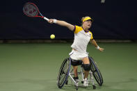 Diede De Groot, of the Netherlands, plays Angelica Bernal, of Colombia, during the woman's wheelchair quarterfinals of the U.S. Open tennis tournament in New York, Thursday, Sept. 9, 2021. (AP Photo/Seth Wenig)
