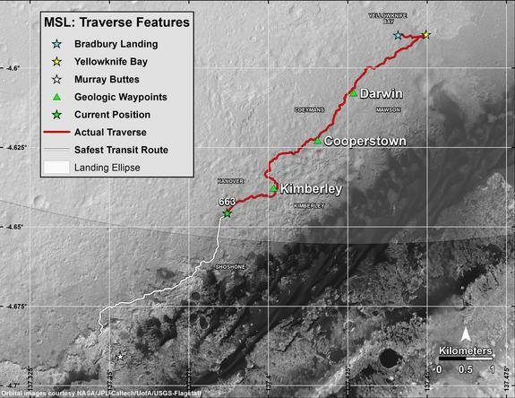 """This recent map shows in red the route driven by NASA's Curiosity Mars rover from the """"Bradbury Landing"""" location where it touched down in August 2012 (blue star at upper right) through the 663rd Martian day, or sol, of the rover's work on Mars"""