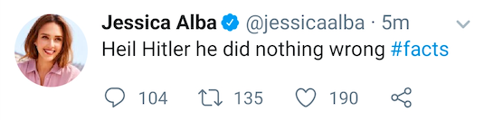 Jessica Alba's Twitter account was hacked (photo credit: Twitter)