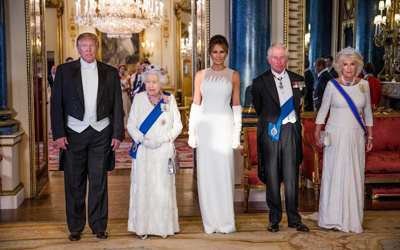 Donald Trump, the Queen, Melania Trump, Prince Charles and the Duchess of Cornwall during the US president's state visit - Jeff Gilbert