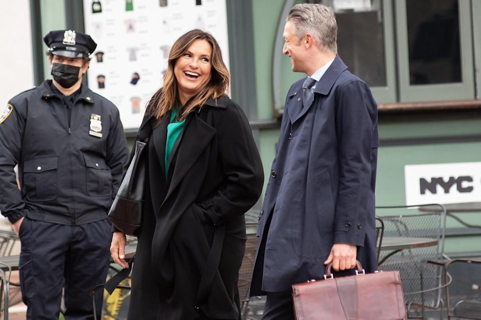 <p>Mariska Hargitay was seen filming <em>Law & Order: SVU</em> in New York City with costar Peter Scanavino.</p>