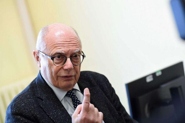 PHOTO: Professor Massimo Galli, primary infectologist of the hospital Luigi Sacco gives an interview in Milan on March 3, 2020 about the situation of the Covid-19 outbreak in Italy. (AFP via Getty Images, FILE)