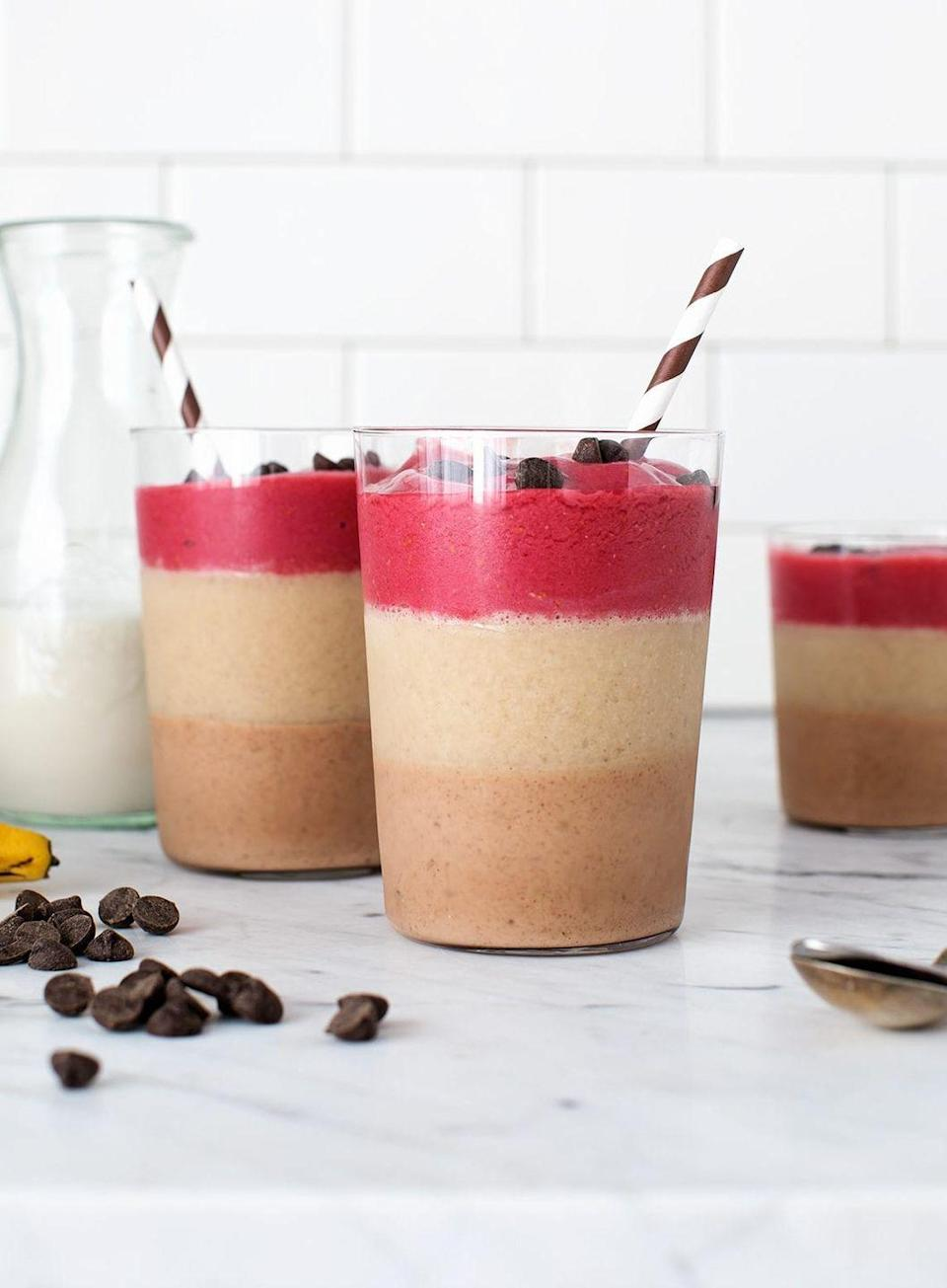"""<p>This smoothie will make you feel fancy AF: The first layer is chocolate almond butter, the second is banana vanilla, and the third is red berry. </p><p><a class=""""link rapid-noclick-resp"""" href=""""https://www.loveandlemons.com/3-layer-fruit-smoothie/"""" rel=""""nofollow noopener"""" target=""""_blank"""" data-ylk=""""slk:Get the recipe"""">Get the recipe</a></p>"""