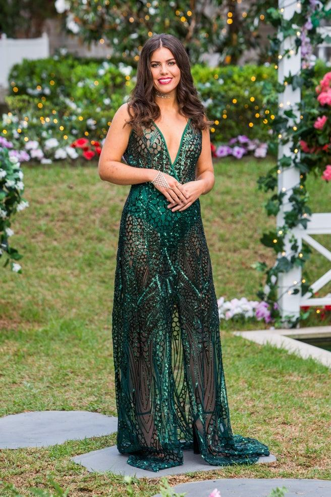 Keely Spedding in a green dress on opening night of The Bachelor Australia