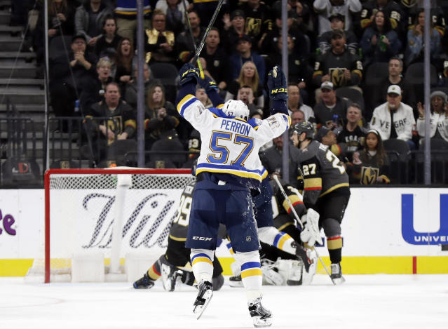 St. Louis Blues forward David Perron (57) celebrates after a goal against the Vegas Golden Knights during the second period of an NHL hockey game Thursday, Feb. 13, 2020, in Las Vegas. (AP Photo/Isaac Brekken)