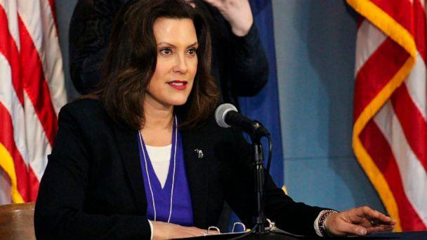 PHOTO: Michigan Gov. Gretchen Whitmer addresses the state during a speech in Lansing, Mich., April 17, 2020. (Michigan Office of the Governor via AP, Pool)