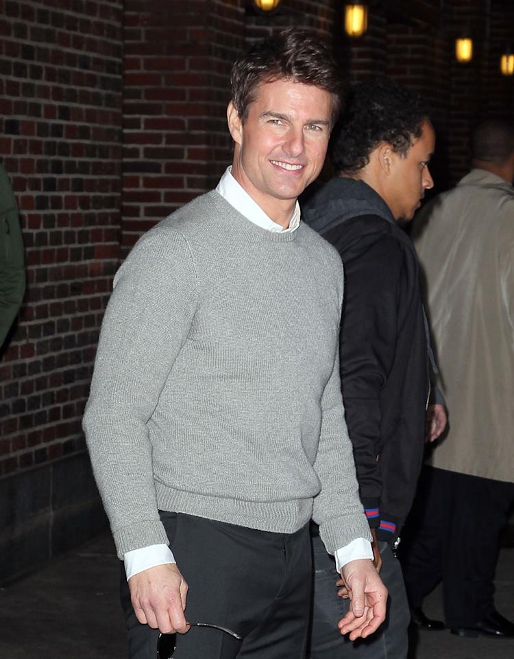 "NEW YORK, NY - DECEMBER 17:  Actor Tom Cruise departs ""Late Show with David Letterman"" at Ed Sullivan Theater on December 17, 2012 in New York City.  (Photo by Jeffrey Ufberg/WireImage)"