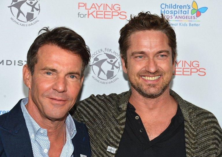 Actors Dennis Quaid (L) and Gerard Butler arrive at the special Children's Hospital Los Angeles' Benefit screening of 'Playing For Keeps' at ArcLight Hollywood, on November 28, in Hollywood, California