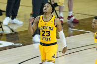 Arizona State forward Marcus Bagley celebrates during the second half of the team's NCAA college basketball game against Stanford, Saturday, Jan. 30, 2021, in Tempe, Ariz. (AP Photo/Matt York)