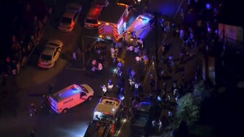 Aerial footage of first responders and ambulance at the scene of a train derailment in Philadephia, Pennslylania May 12, 2015 in this still image taken from footage by nbcphiladelphia.com. An Amtrak passenger train derailed in north Philadelphia on Tuesday night, causing multiple injuries, a city fire department supervisor said, but further details about circumstances of the wreck were not immediately available. REUTERS/NBC10 via Reuters TV ATTENTION EDITORS - THIS IMAGE HAS BEEN SUPPLIED BY A THIRD PARTY. IT IS DISTRIBUTED, EXACTLY AS RECEIVED BY REUTERS, AS A SERVICE TO CLIENTS. FOR EDITORIAL USE ONLY. NOT FOR SALE FOR MARKETING OR ADVERTISING CAMPAIGNS. NO SALES. NO ARCHIVES.