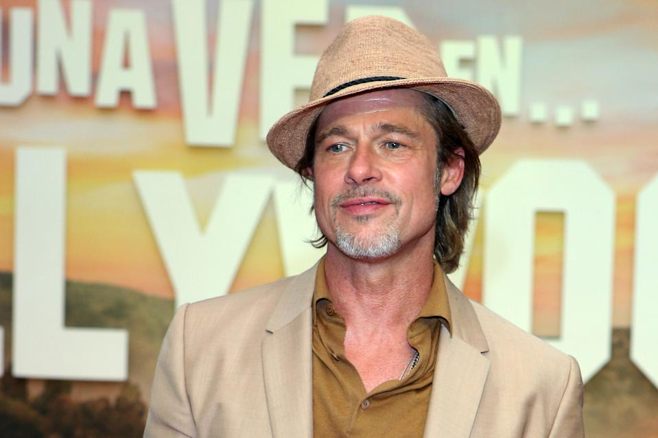 MEXICO CITY, MEXICO - AUGUST 12: Brad Pitt poses for photos during the premiere of 'Once Upon a Time in... Hollywood' at Toreo Parque Central on August 12, 2019 in Mexico City, Mexico. (Photo by Medios y Media/Getty Images)