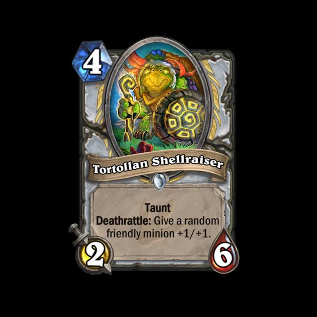 <p>Priests love to simultaneously protect their minions and make them stronger, and Tortollan Shellraiser does all of that. Not a terribly exciting four-drop, but could definitely see some play if the four mana spot in Priest has some shortcomings. </p>