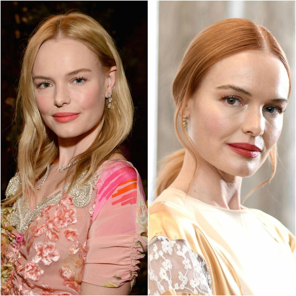"""It's almost impossible to imagine <a rel=""""nofollow"""" href=""""https://www.allure.com/topic/kate-bosworth?mbid=synd_yahoo_rss"""">Kate Bosworth</a> without her signature California-girl blonde hair, but she just made it a whole lot easier with her recent switch to red. Bosworth has been spotted promoting her new film, <em>Nona</em>, with a coppery color that's just orange enough to make it look like it could have grown out of her gorgeous head."""