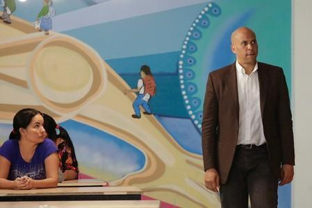 U.S. Senator Cory Booker is seen during a visit to a migrant assistance center in Ciudad Juarez