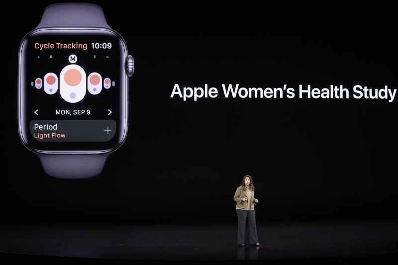 Sumbul Desai, MD, Apple's vice president of Health talks about new features on the Apple watch during an event to announce new products Tuesday, Sept. 10, 2019, in Cupertino, Calif. (AP Photo/Tony Avelar)